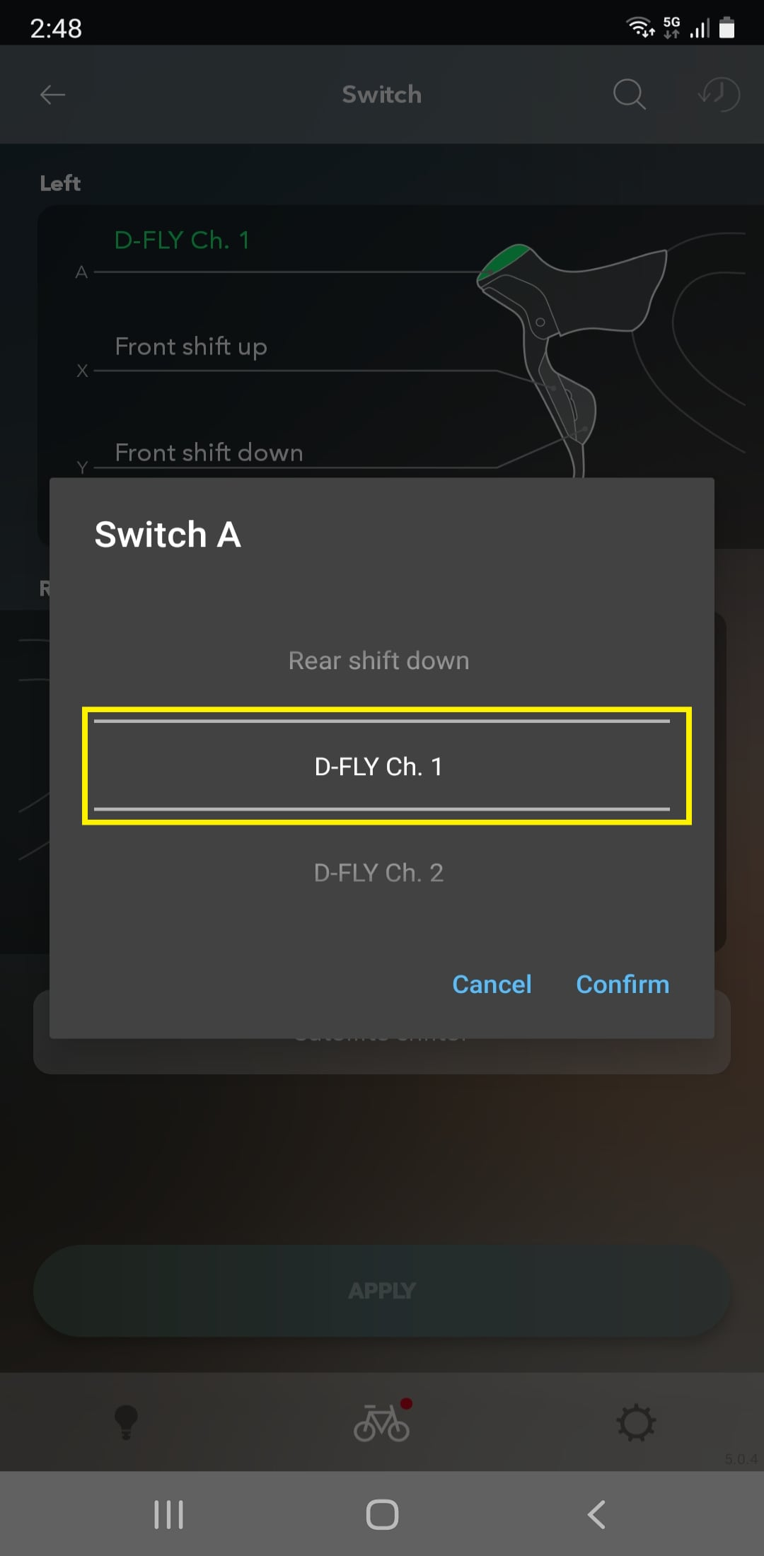 Select a D-FLY channel from 1 to 4.