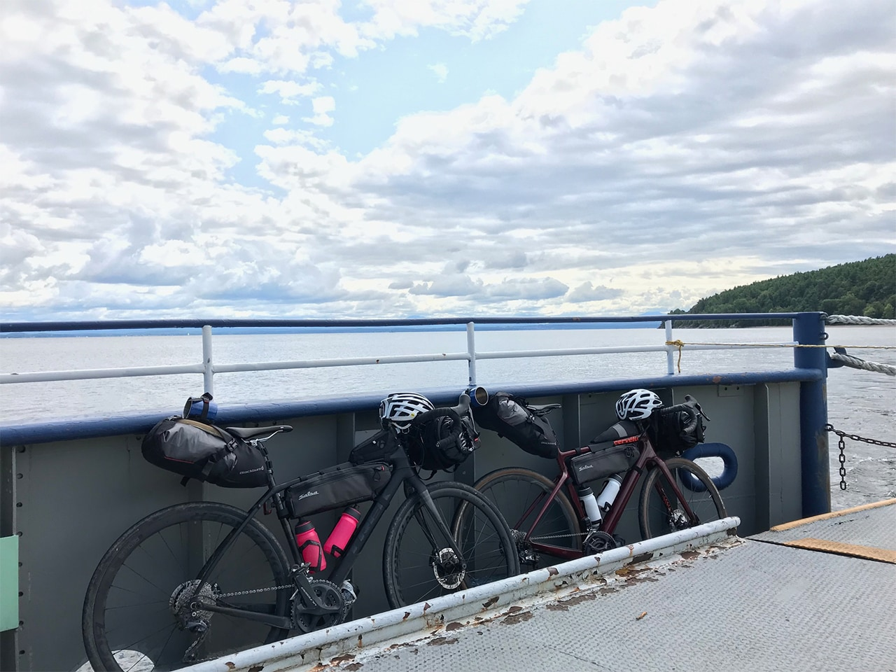 Bikepacking bikes on a boat