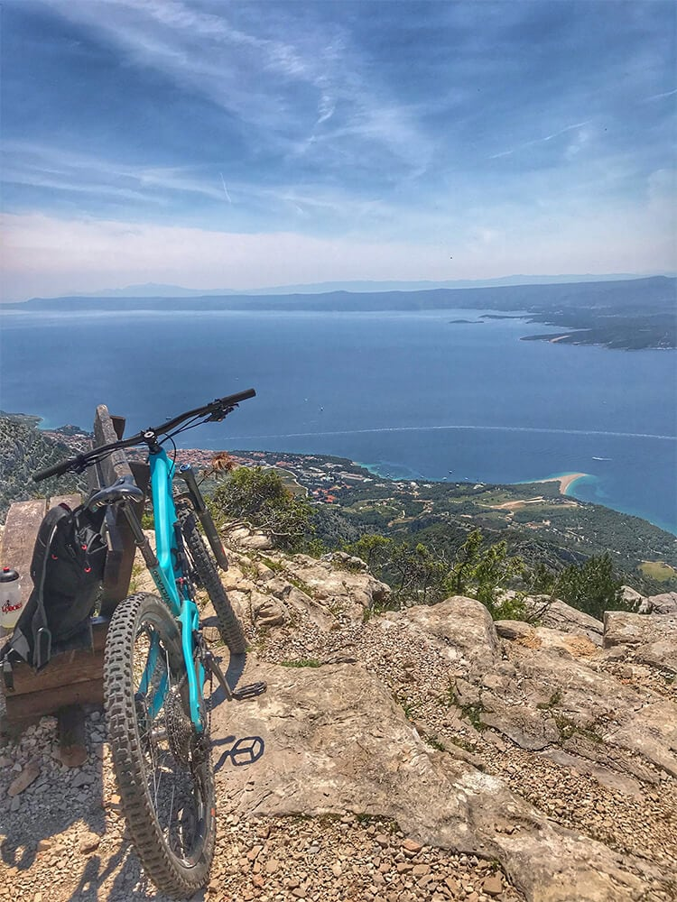 Bike resting on bench in Croatia