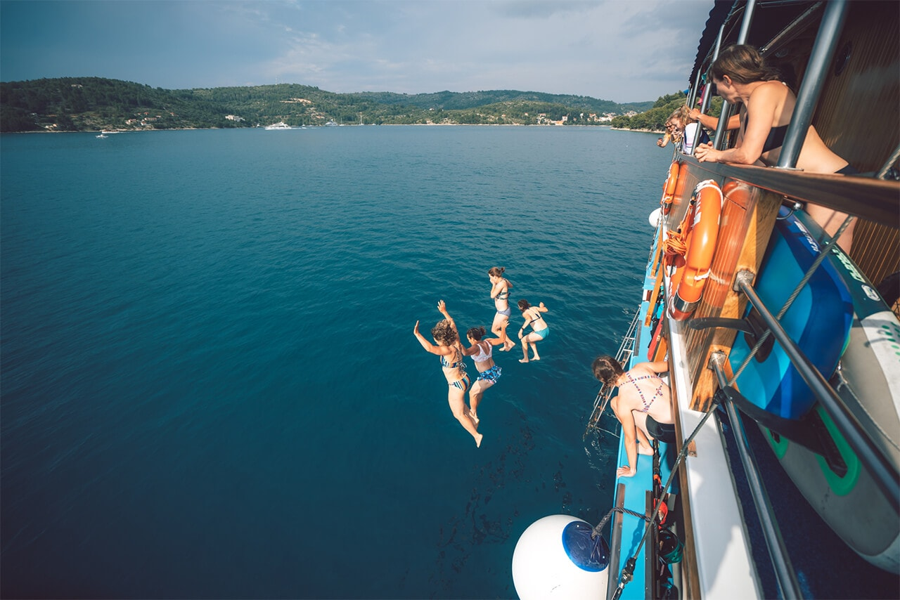 Jumping off Boat into Ocean in Croatia